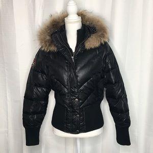 Triple Fat Goose Black Fur Trimmed Puffer Jacket